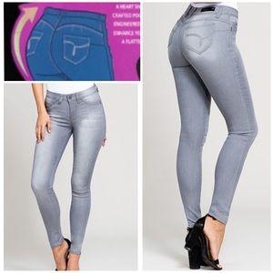 WannaBettaButt Super Soft Skinny Gray Jeans size 7